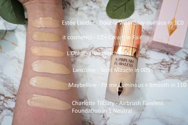 Review Charlotte Tilbury - Airbrush Flawless Foundation Swatches