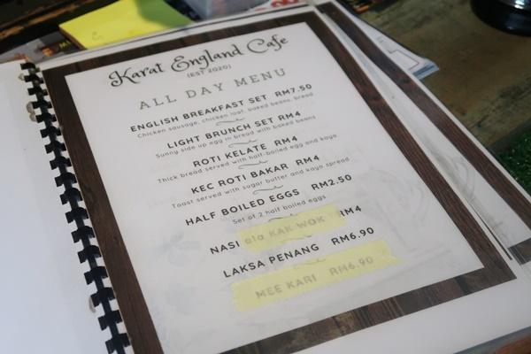 Karat England Cafe Tanah Merah - Menu