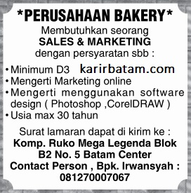 Lowongan Kerja Perusahaan Bakery Batam