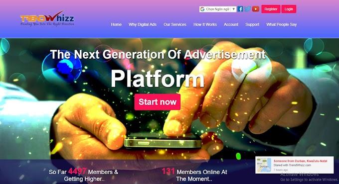 MMO - Giới thiệu trang web kiếm tiền từ xem quảng cáo không đầu tư TrendWhizz