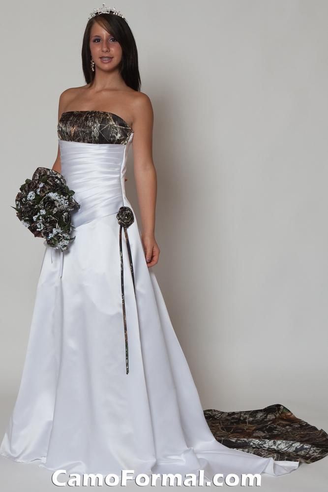 White Wedding Dresses With Camo Trim