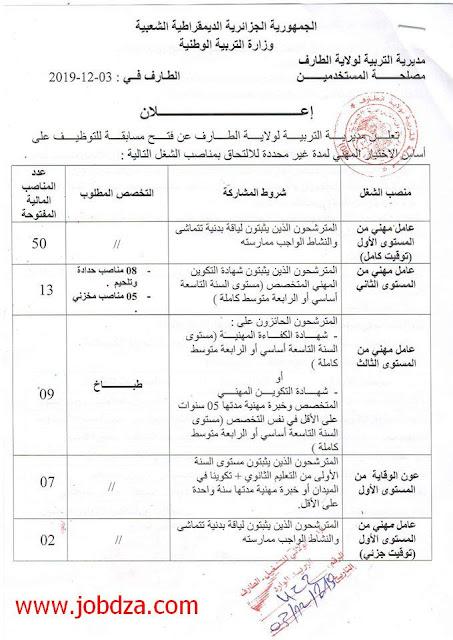 مديرية التربية لولاية الطارف توظف  81 منصب