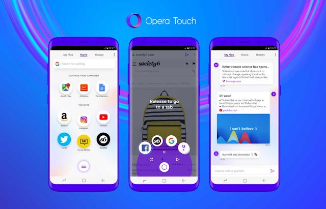 Opera Touch يحصل على الوضع المظلم على مستوى النظام