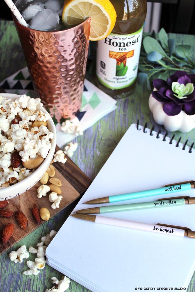 be honest, sketchbook, popcorn, organic snack ideas, peanuts