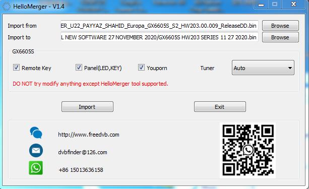 HELLO MERGER V1.4 TOOL FOR CS8001 & GX6605S AUTO ADJUSTMENT TUNER, REMOTE KEY & PANEL LED KEY