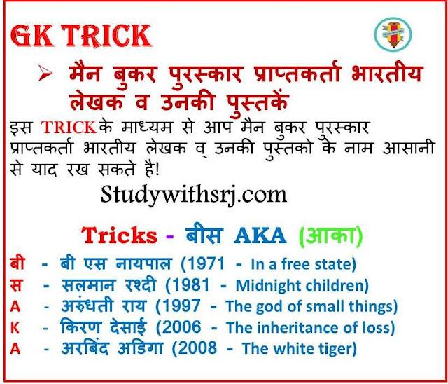 मैन बुकर पुरस्कार प्राप्तकर्ता भारतीय लेखक व उनकी पुस्तकें (Man Booker Award recipients Indian writers and their books) G.K Tricks