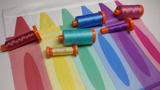 Using Aurifil thread to make a crayon quilt block