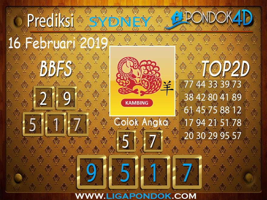 Prediksi Togel SYDNEY PONDOK4D 16 FEBRUARI 2019