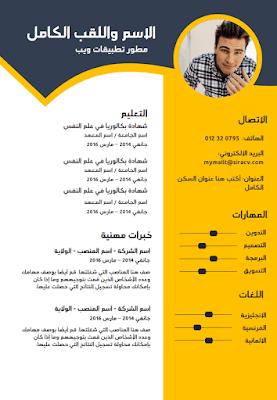 نموذج السيرة الذاتية بالعربي Word