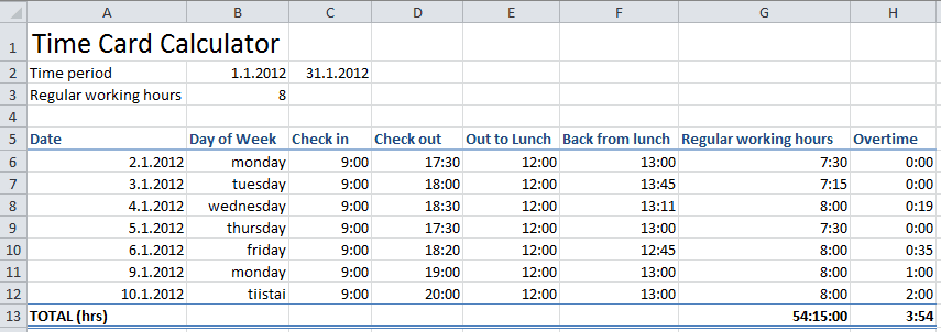 excel time card calculator