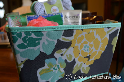 basket for hospital survival kit for new moms.