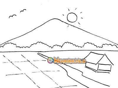 contoh gambar mewarnai pemandangan pedesaan