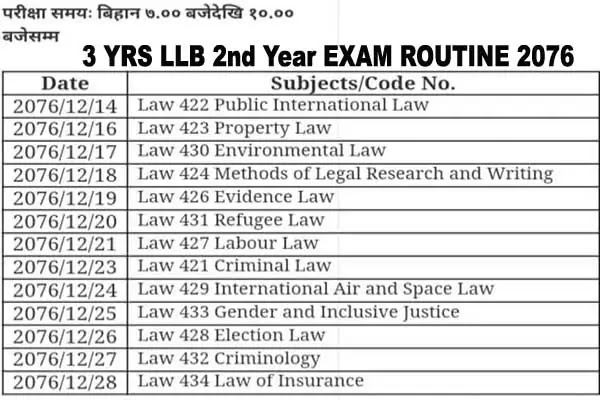 LLB exam routine 2076
