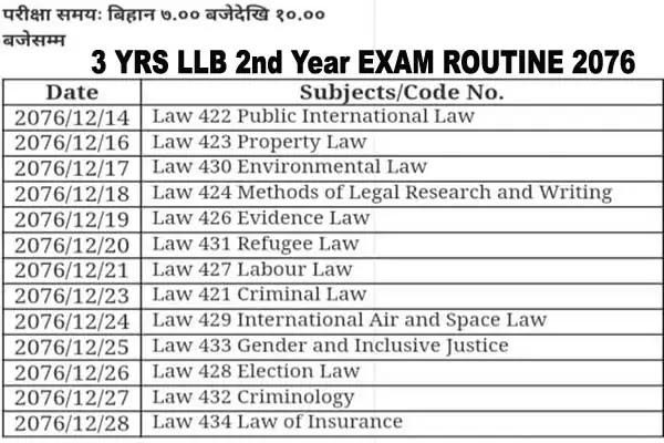 LLB exam routine 2076