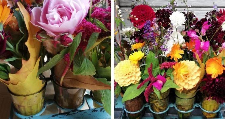 Letzte Blumen aus dem Garten - Tischdeko