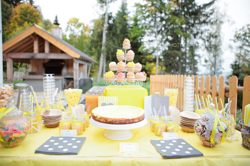 sweet table gourmande jaune et grise
