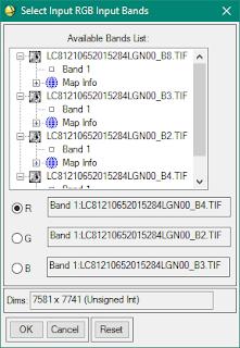 Select RGB input Bands