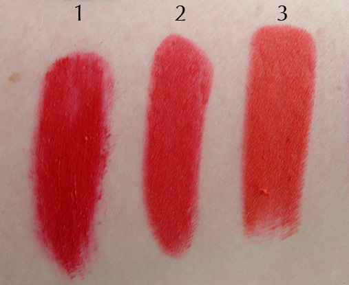 Swatches of 1. Urban Decay Vice Lipstick in EZ; 2. Revlon Fire and Ice; and 3. Wet N Wild Purty Persimmon.