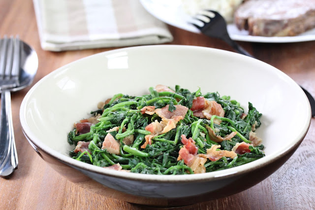 Sautéed Garlicky Watercress with Bacon