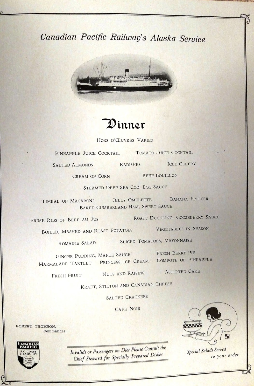 Inside Passage A Pretty Good Spread Shipboard Menus From The Puget Sound Maritime Collection