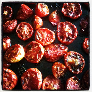 Oven dried tomatoes for sauces.