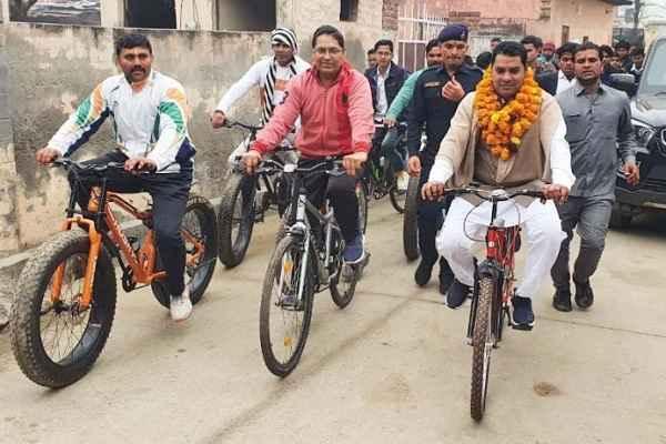 prithla-mla-nayanpal-rawat-run-cycle-on-fit-india-movement-news