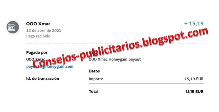 Pago Honeygain - Paypal