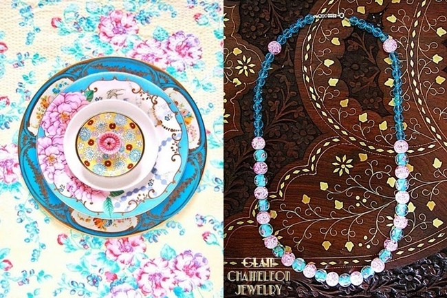 Glam Chameleon Jewelry pastel blue and pink glass beads necklace