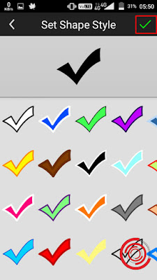 6. Jangan lupa untuk pilih warna dan style nya, jika sudah klik ceklis di pojok kanan atas
