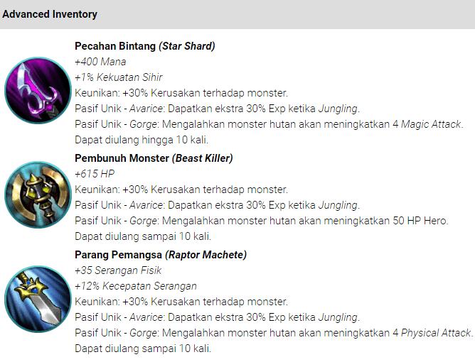 Item (Jungle) Hutan Mobile Legends : Bang bang