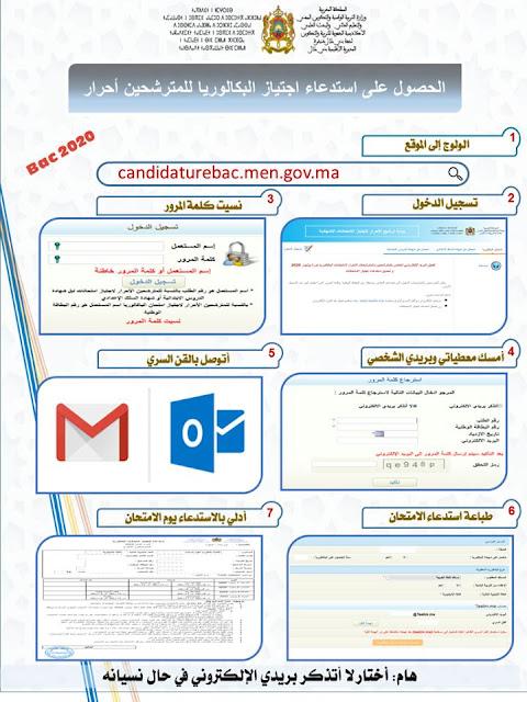 طريقة الحصول على استدعاء اجتياز امتحانات للمترشحين الأحرار