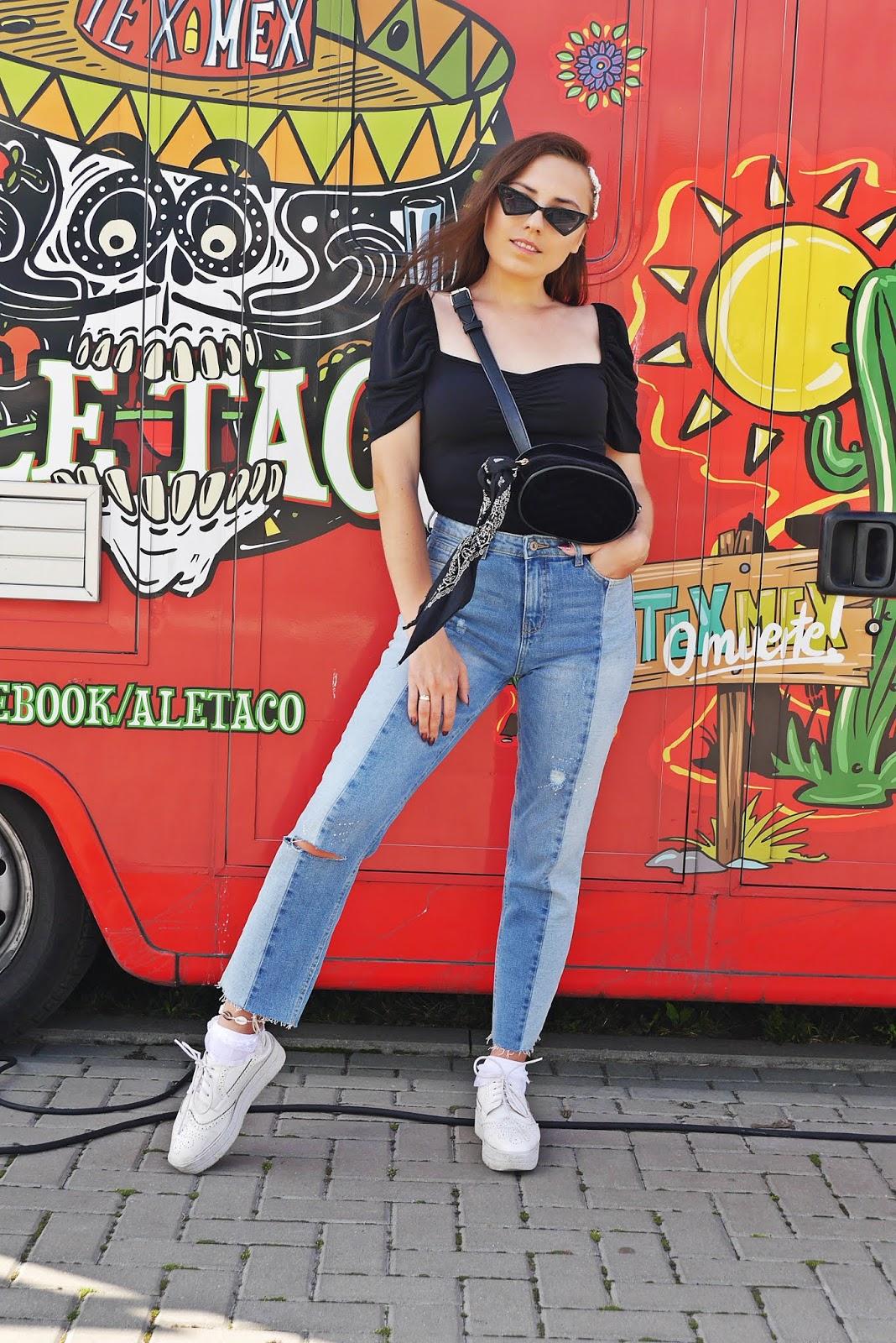 Spodnie cropp dwukolorowe jeansy top z bufkami new yorker nerka renee karyn blog modowy blogerka modowa puławy