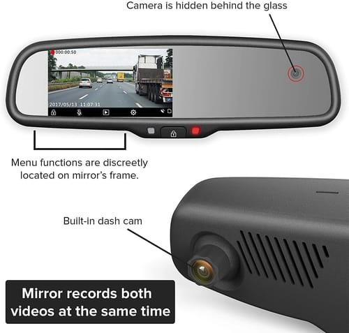 Master Tailgaters Car Rear View Mirror with Dual Camera