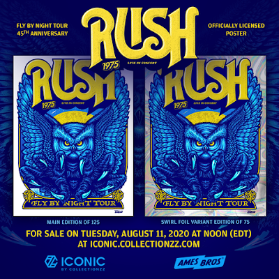 "Rush ""Fly by Night"" 45th Anniversary Screen Print by Ames Bros x Collectionzz"