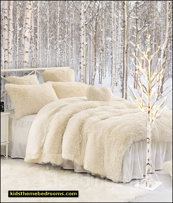 faux fur bedding  birch tree lamp birch tree murals winter wonderland bedroom decorating
