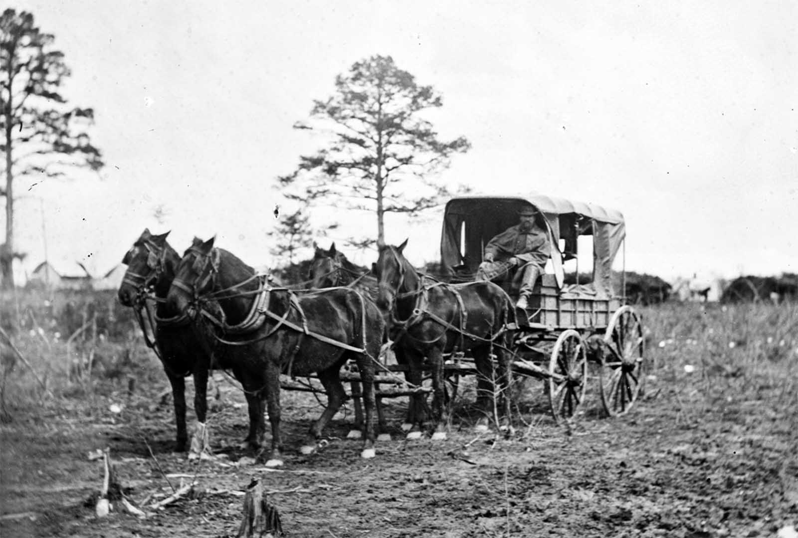 Mail wagon for headquarters, Army of the Potomac, at Falmouth, Virginia, March 1863.