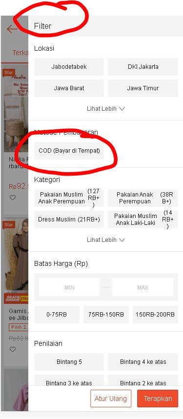 filter metode pembayaran COD bayar di tempat Shopee