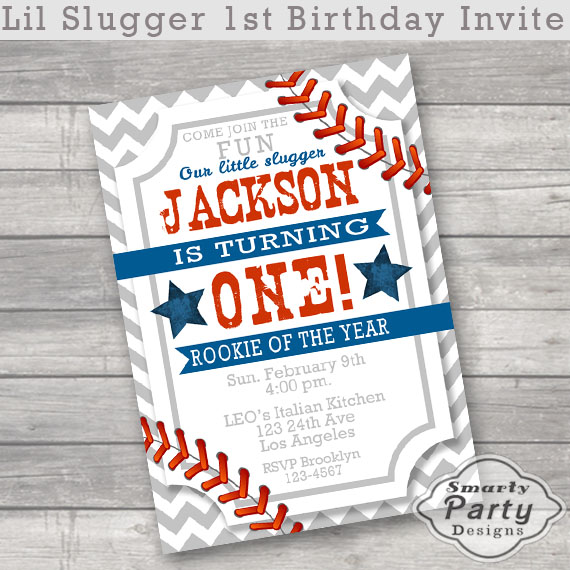 Rookie of the Year Baseball 1st Birthday Invitations Invite Lil