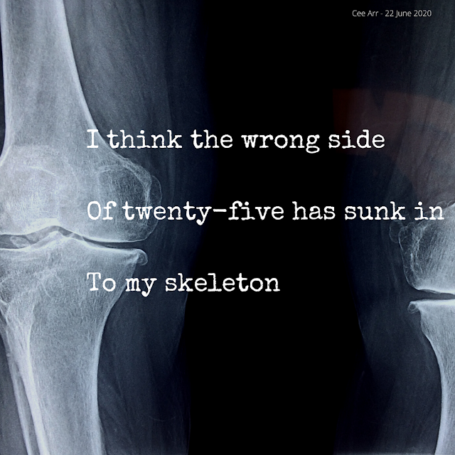 22nd June // I think the wrong side / Of twenty-five has sunk in / To my skeleton