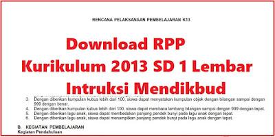 Download RPP Kurikulum 2013 SD 1 Lembar  Intruksi Mendikbud