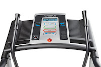 Weslo Crosswalk 5.2T's console, with 4 Preset workout apps, quick-touch controls, blue backlit LCD display screen