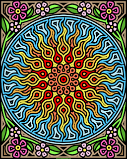 Sun and garden coloring page