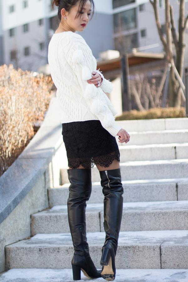 романтичный образ в ботфортах, гипюровая юбка, юбка своими руками, мини-юбка, преображение, hand made, корея, Сеул, стиль