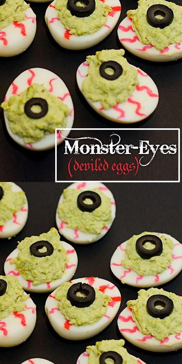 Spooky Monster Eyes Deviled Eggs for Halloween #halloweenrecipes