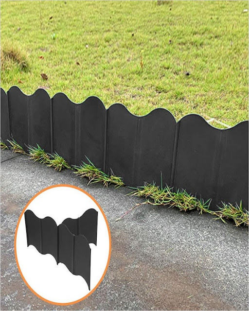 buy black flexible plastic garden edging system
