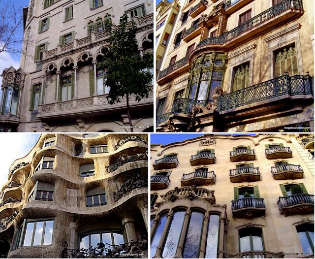 Fachadas modernistas no Bairro do Eixample, em Barcelona