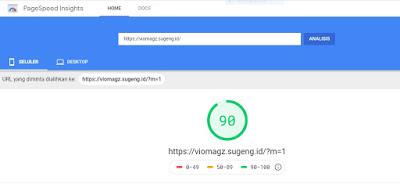 Skor Template Viomagz di Page Speed Insight versi Mobile