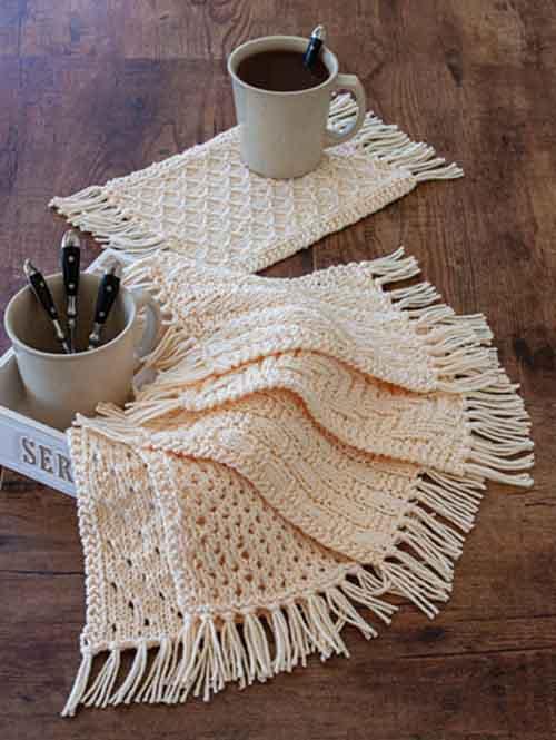 Rustic Knit Mug Rugs - Knitting Pattern