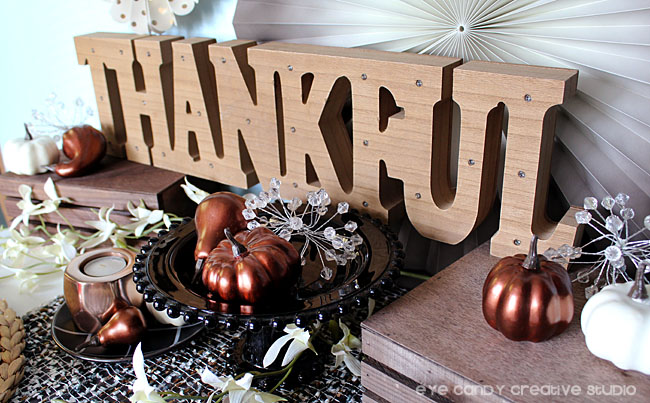 thankful wood sign, copper pumpkins, dessert table decor, decorating for thanksgiving
