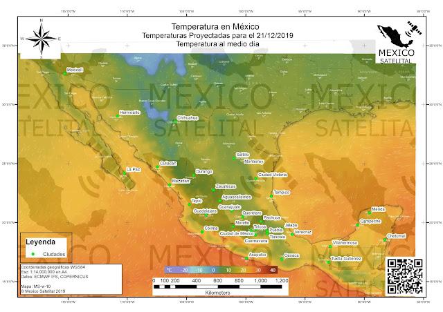 Temperatura pronosticada para Mexico